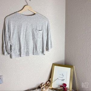 Joah Brown Light Grey Pocket Crop Tee • S / M